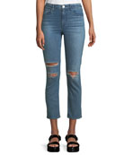 3x1 W4 Colette Distressed Straight-Leg Jeans