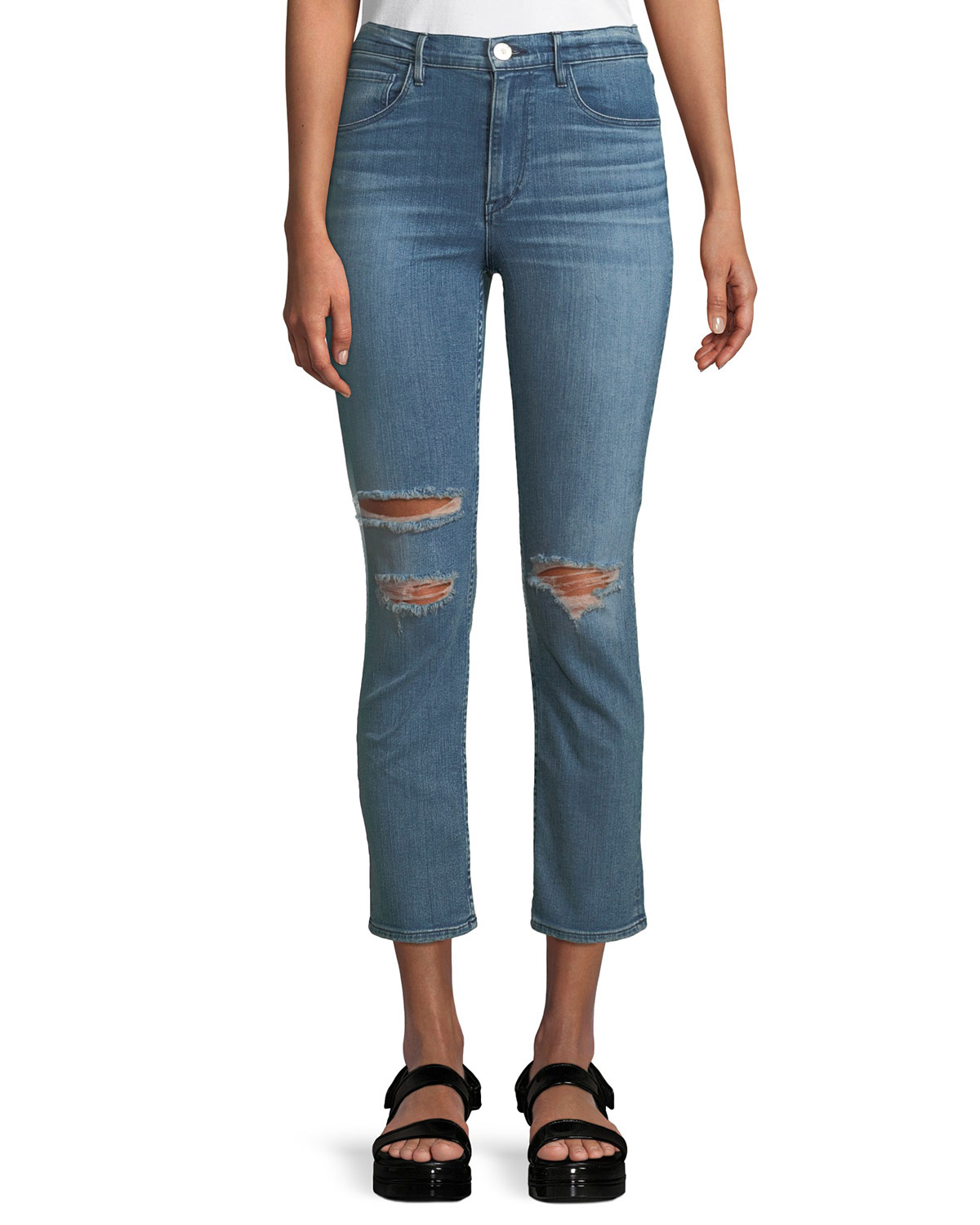 W4 Colette Distressed Straight-Leg Jeans