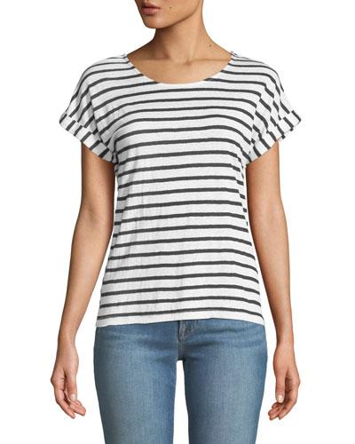 Striped Linen Dolman-Sleeve Tee
