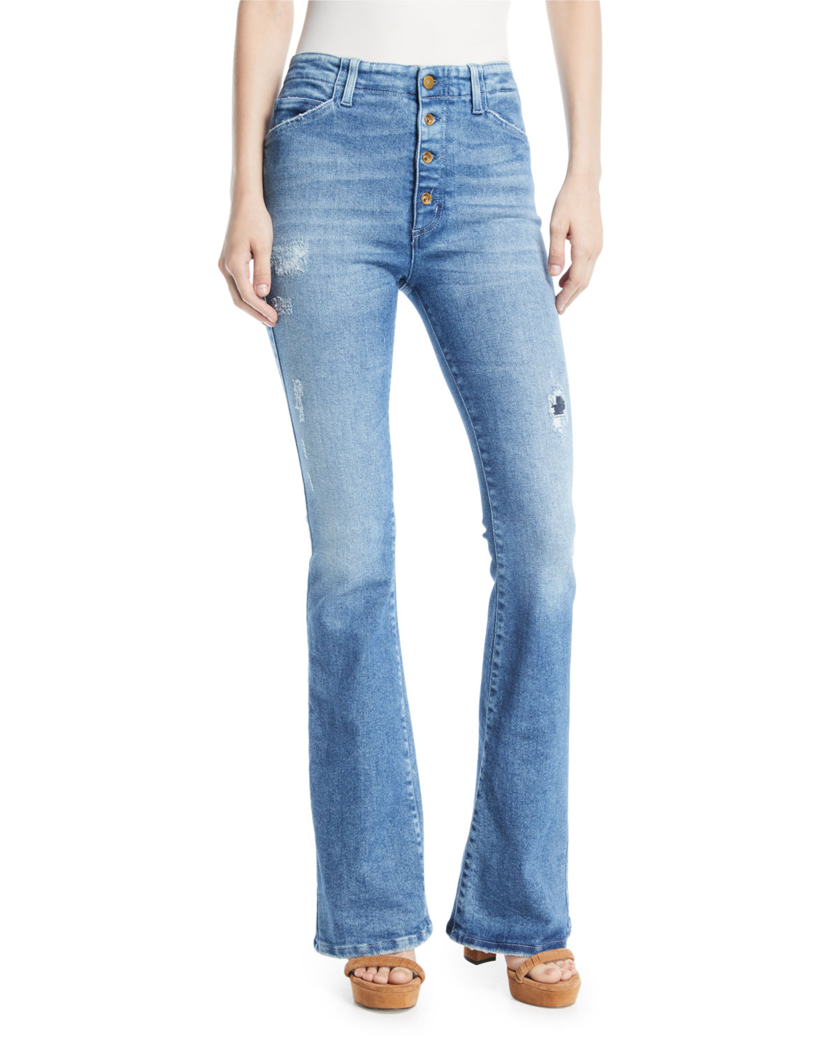 Friya Sharon Gene Mid-Rise Flare-Leg Jeans with Exposed Fly