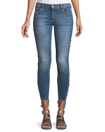 Emma Power Low-Rise Step-Hem Legging Jeans