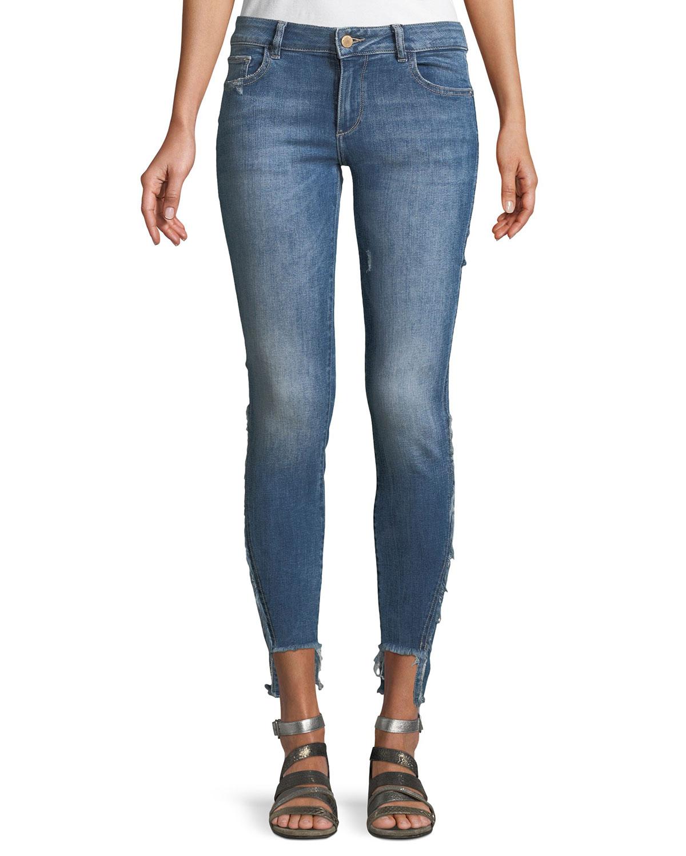 Emma Power Low-Rise Step-Hem Legging Jeans