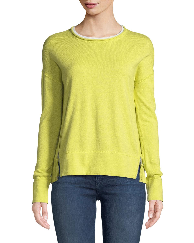 Zipline Sweater w/ Side Zipper Detail, Plus Size