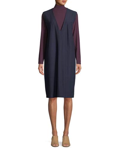 Sleeveless V-Neck Crepe Shift Dress, Petite