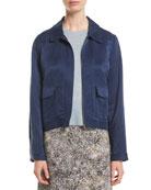 Eileen Fisher Zip-Front Linen-Silk Satin Utility Jacket