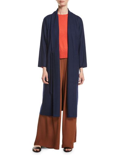 Boiled Wool Jersey Long Wrap Jacket, Plus Size