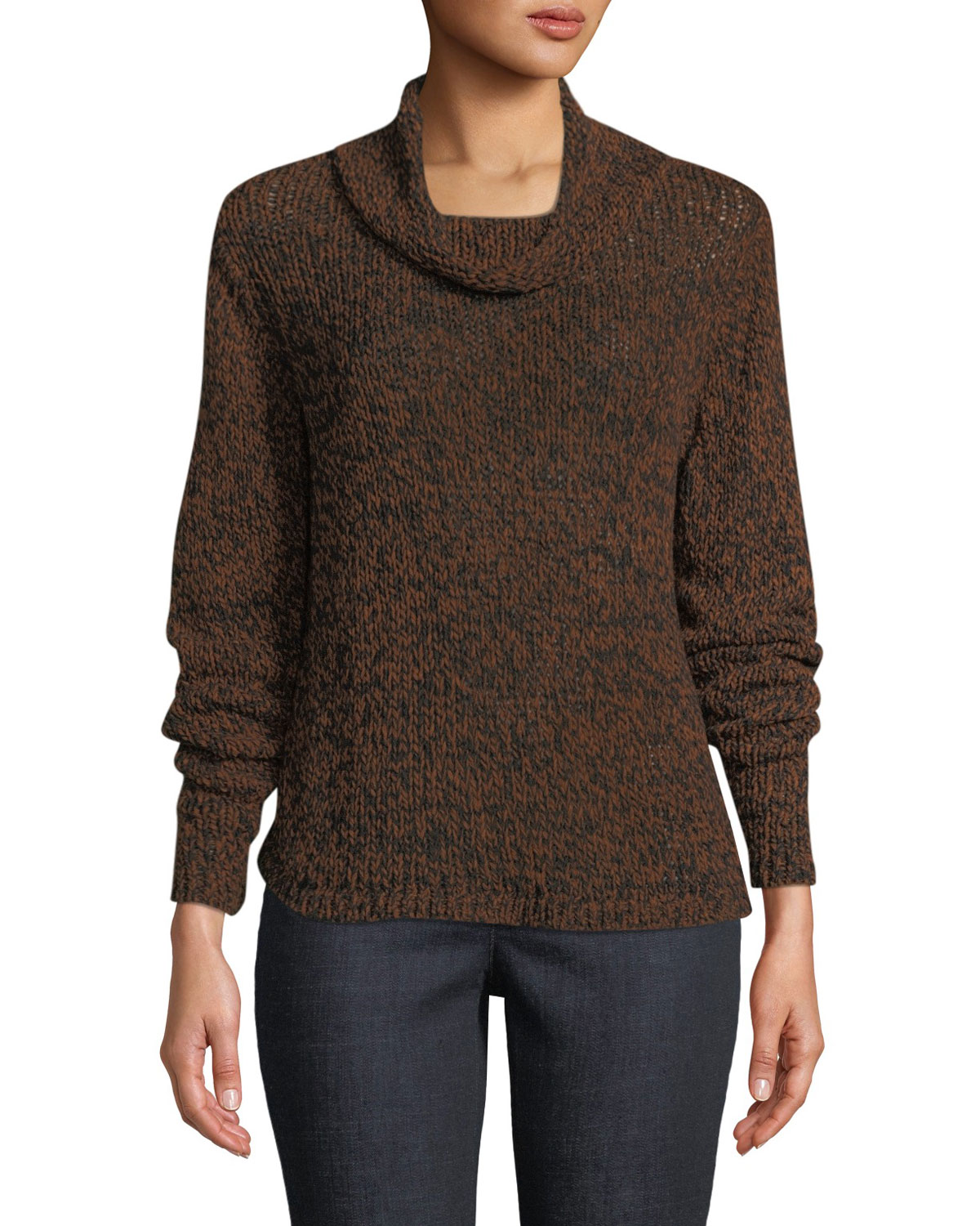 Organic Cotton Blend Long-Sleeve Funnel-Neck Sweater in Nutmeg