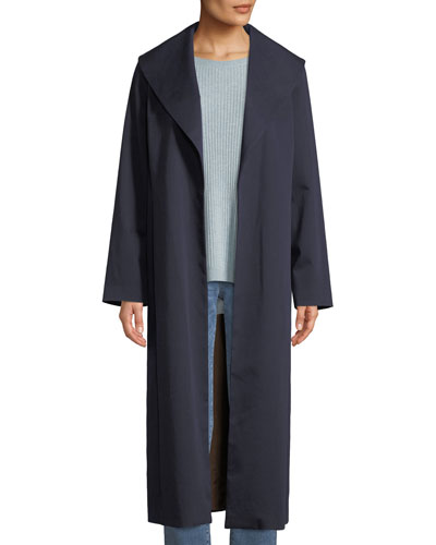 Wide-Collar Twill Belted Long Coat