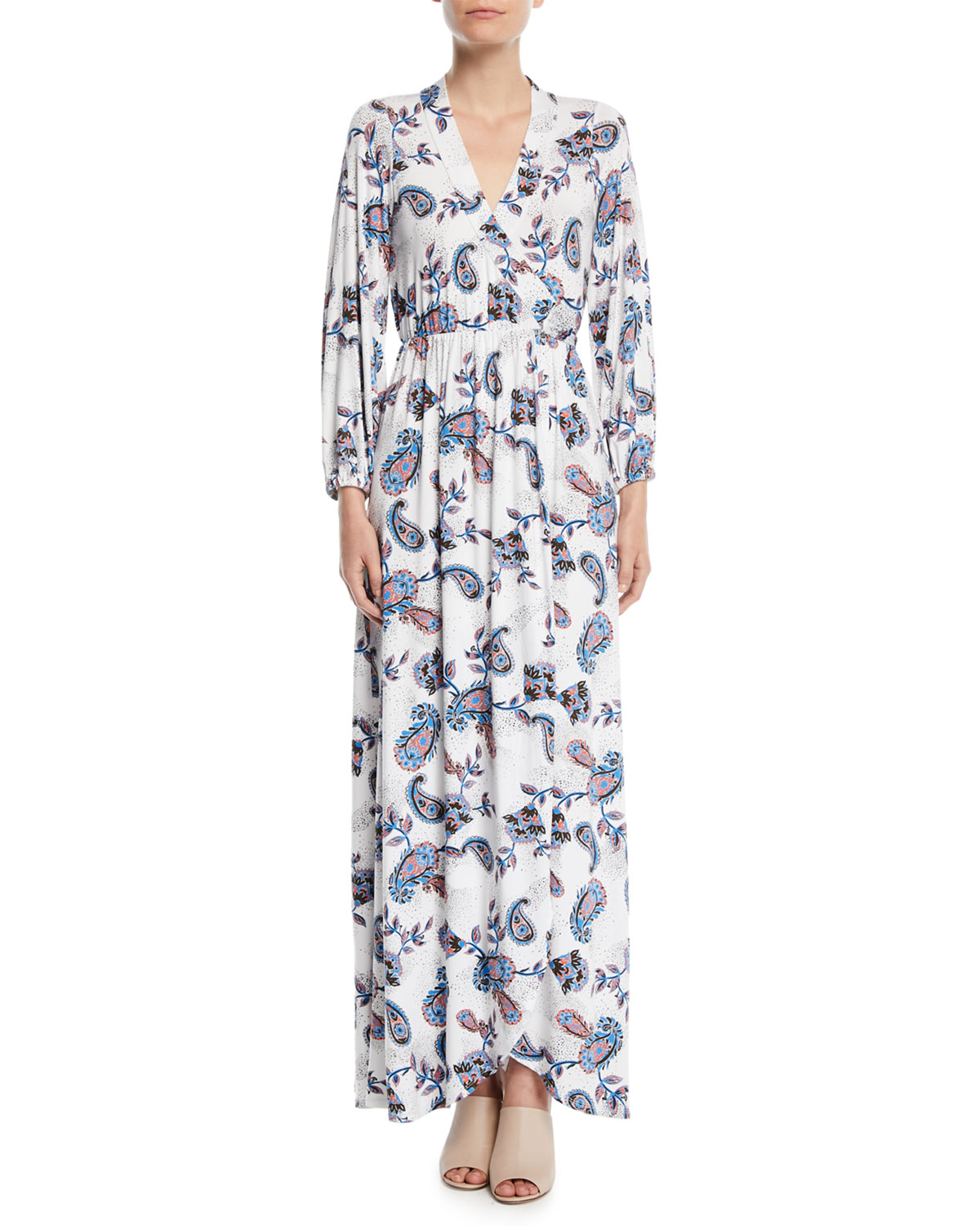 GREENWICH LONG-SLEEVE PAISLEY WRAP MAXI DRESS, PLUS SIZE