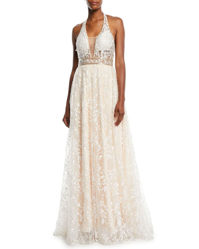 Halter-Strap Ball Gown in Lace