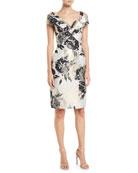 Jovani Metal Floral Off-Shoulder Sheath Dress