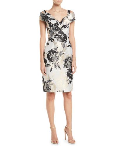 9db13422 Quick Look. Jovani · Metal Floral Off-Shoulder Sheath Dress