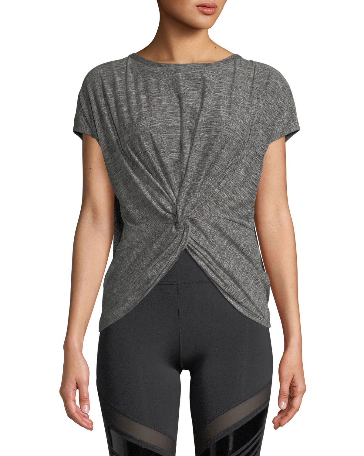 NYLORA Emerson Activewear Twisted T-Shirt Top in Heather Charcoal