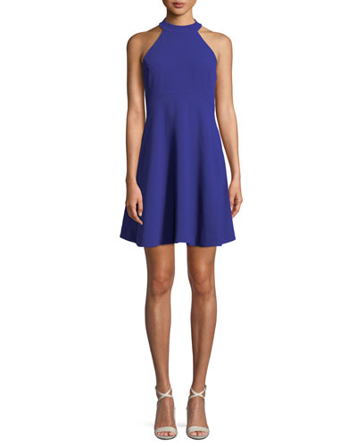 Caroline Crepe Halter Fit-and-Flare Dress