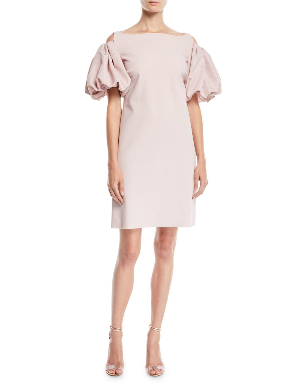 Isla Cold-Shoulder Dress w/ Puff Sleeves