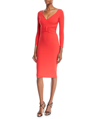 Claudetta V-Neck Dress w/ Bow Front