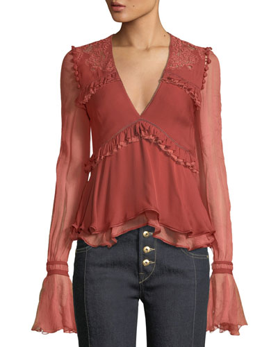 Mixed Lace V-Neck Ruffle Blouse