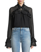 Jonathan Simkhai High-Neck Lace Ruffle Button-Front Top