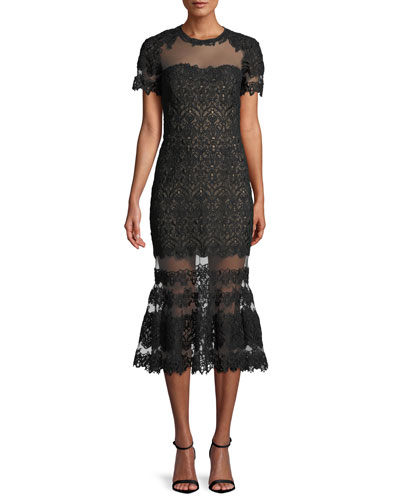 Sheer Guipure Lace Flounce Midi Dress