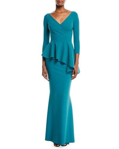 Long Sleeve Spandex Gown Neiman Marcus