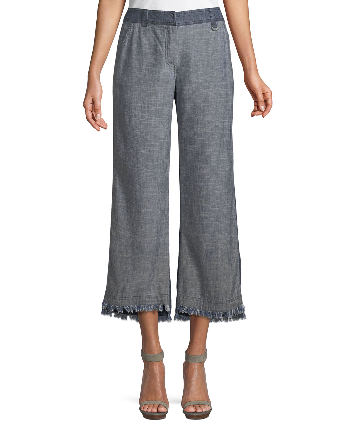 Ontario Frayed Pants in Crosshatch Chambray