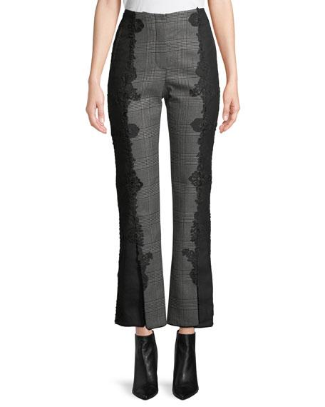 Jonathan Simkhai E-Cig Check Wool Applique Straight-Leg Pants
