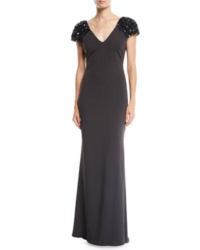 Gray Beaded Gown   Neiman Marcus