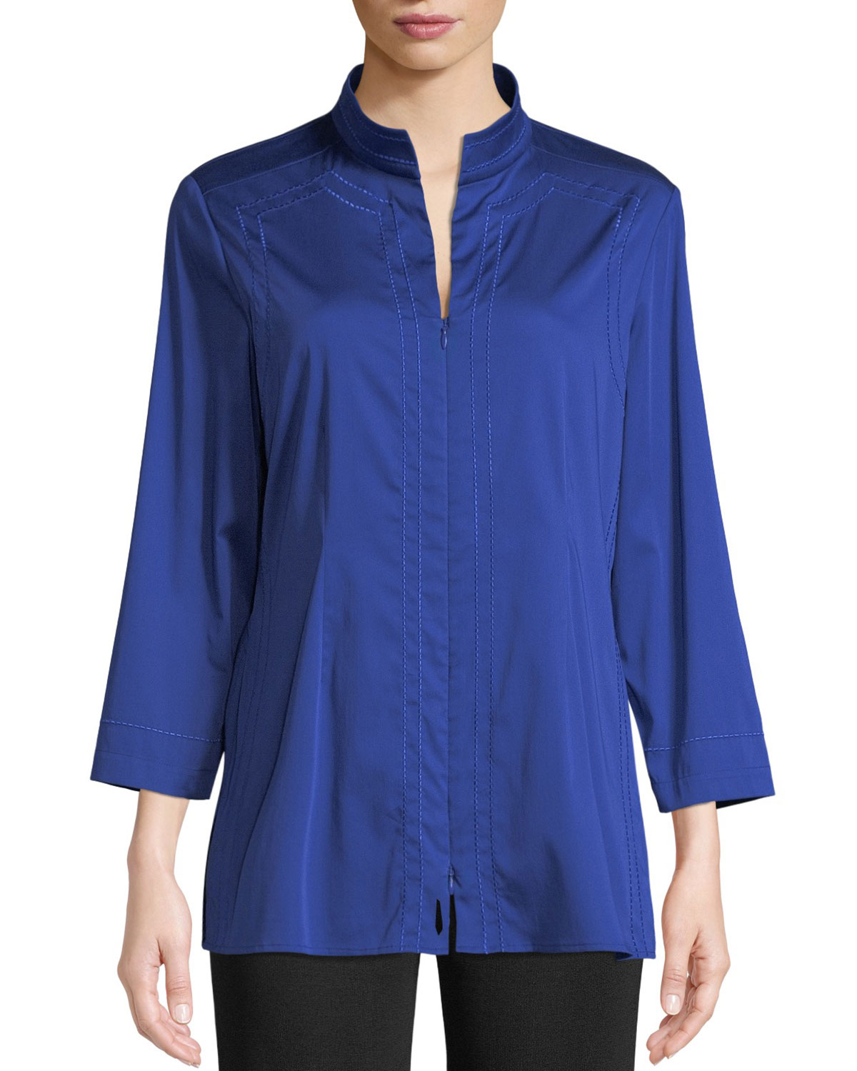 Funnel-Neck Zip-Front Woven Blouse