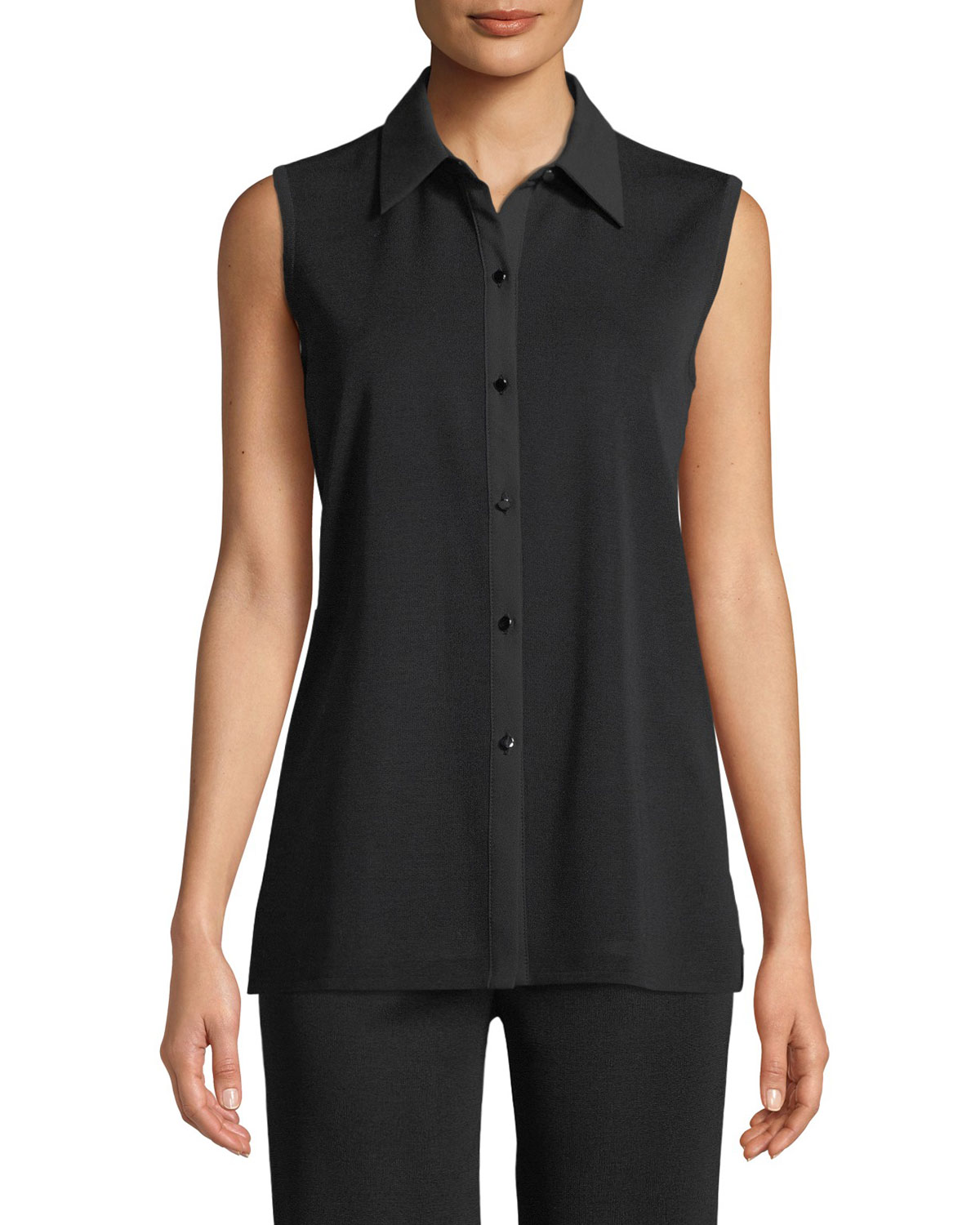 Sleeveless Button-Front Blouse