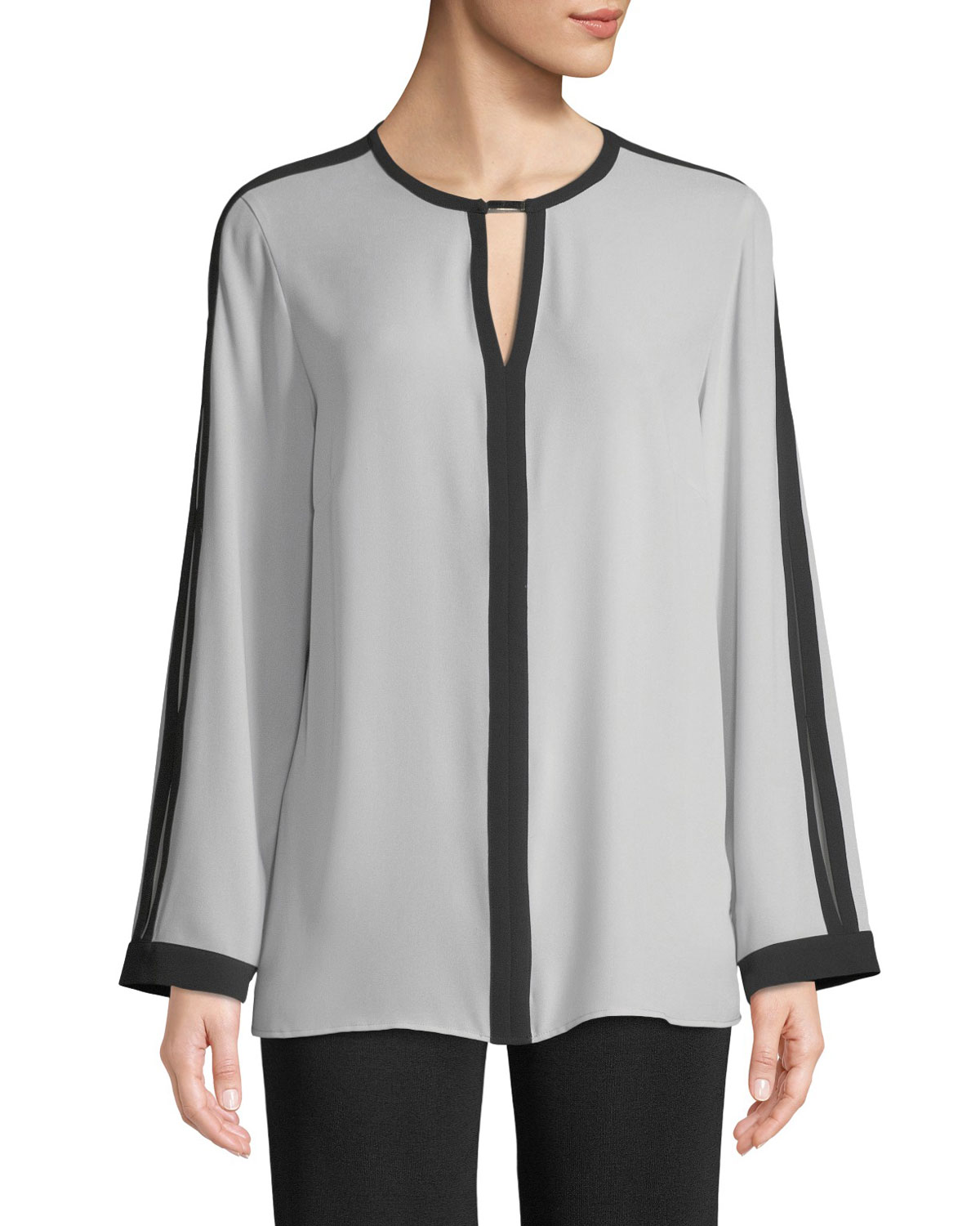 Silky Keyhole-Front Blouse w/ Contrast Trim, Marble/Black