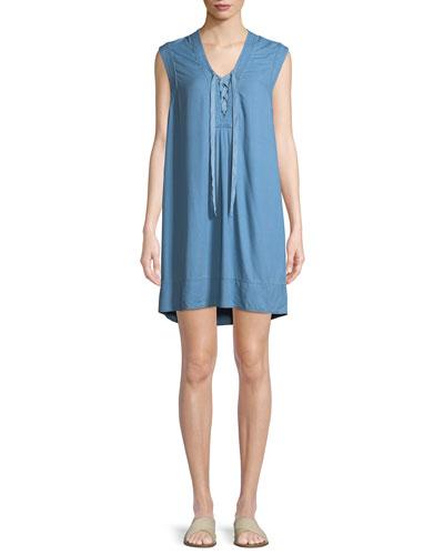 Lace-Up Sleeveless Chambray Shift Dress