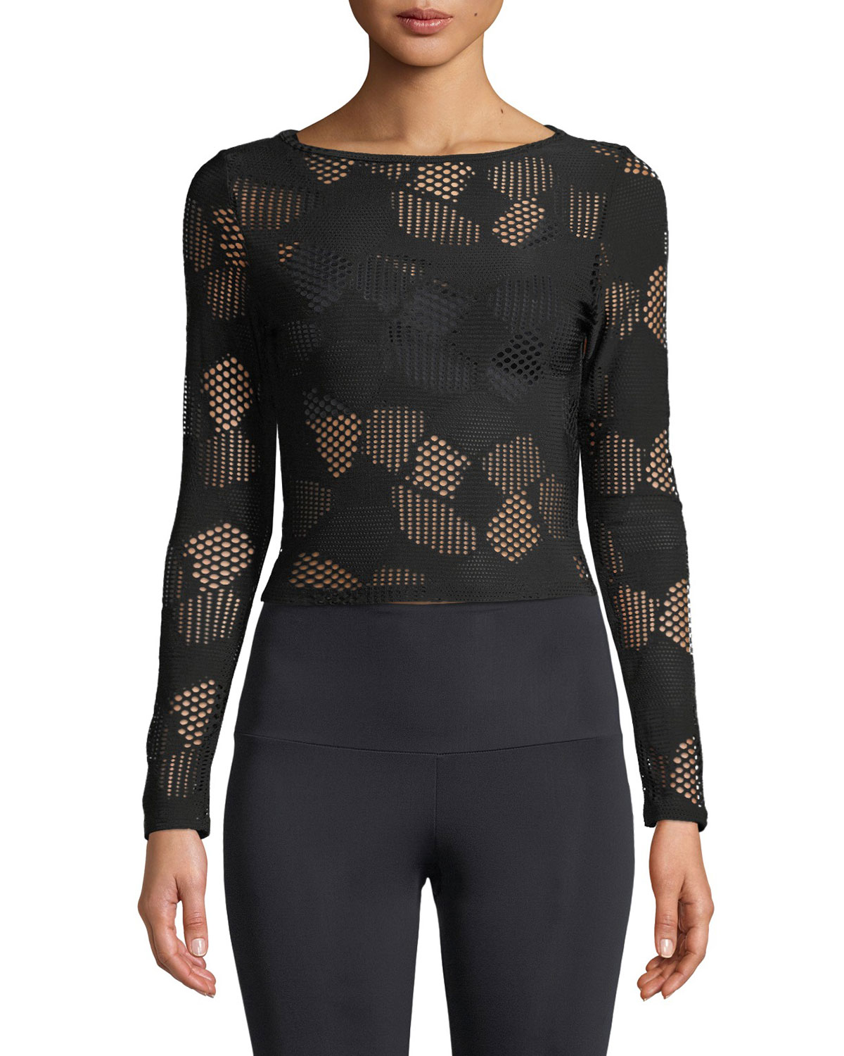 ONZIE LONG-SLEEVE MESH ACTIVE CROP TOP