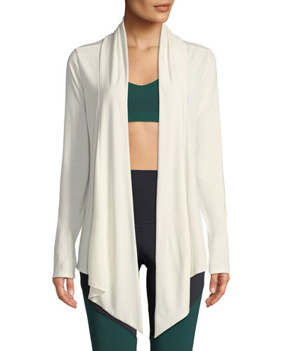 Draped Open-Front Long-Sleeve Cardigan