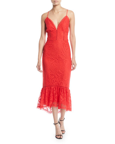 3e1ddd26b858 Quick Look. Lovers And Friends · Evening Bloom Lace Flounce Midi Dress.  Available in Red