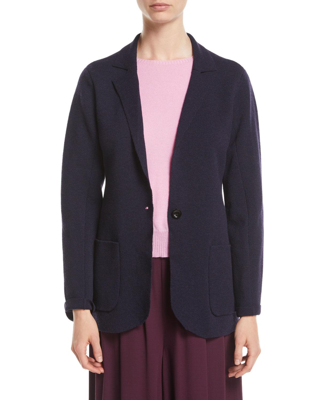 Washable Wool Crepe Blazer Jacket, Petite, Midnight