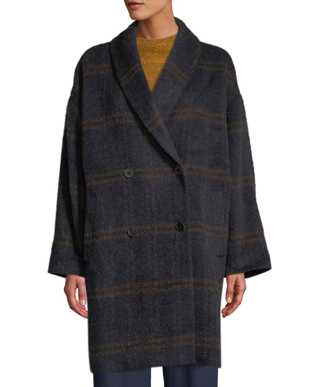 Windowpane Luxe Alpaca Car Coat, Plus Size, Midnight