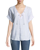 Rails Jeri Striped Lace-Up Top