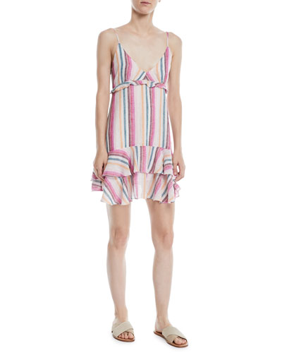 Martina Striped Flounce Mini Dress