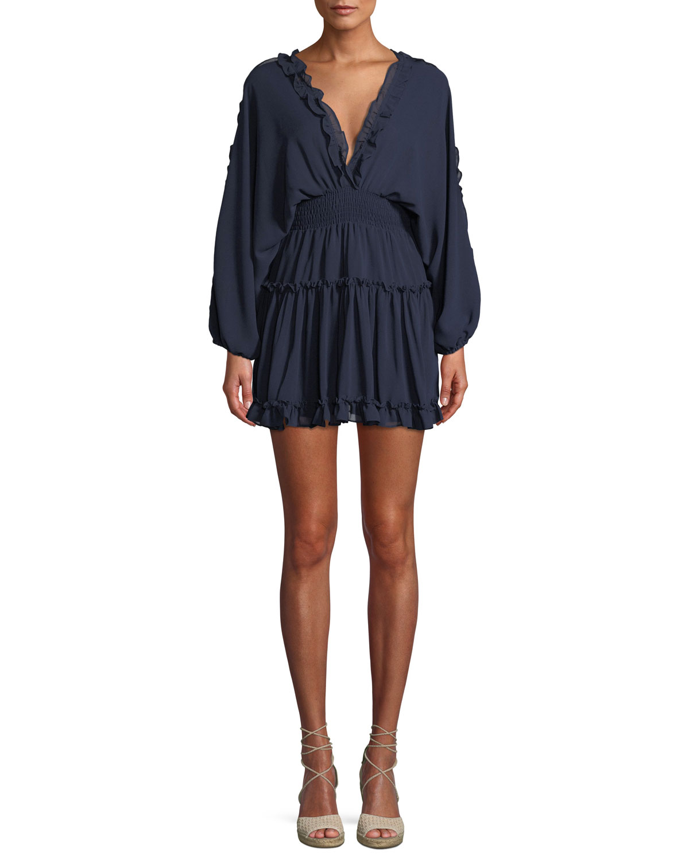 Luisa Ruffle Open-Back Mini Dress