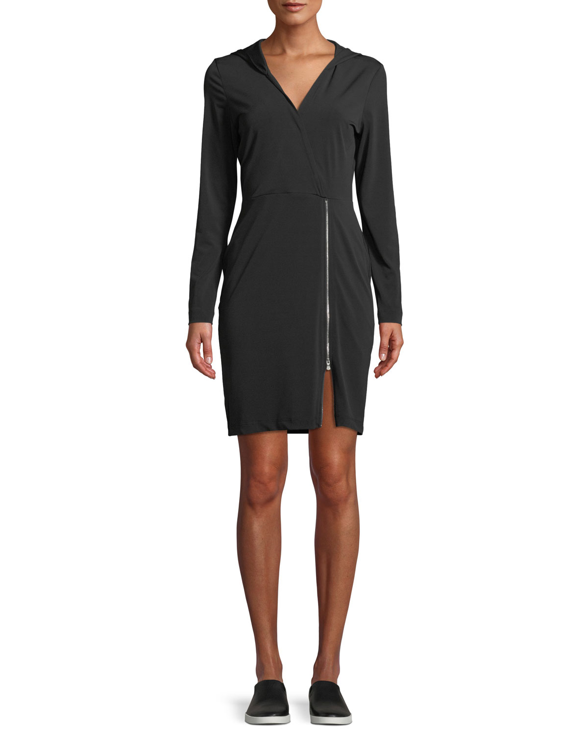 ANATOMIE Fresia Hooded Jersey Dress With Adjustable Zipper in Black