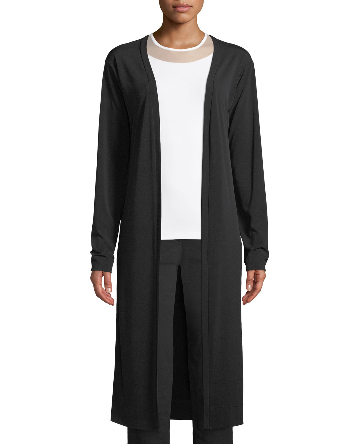 ANATOMIE Luciana Jersey Long Cardigan W/ Side Zippers in Black