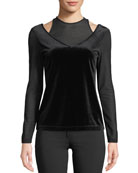 Anatomie Hazel Velvet Open-Detail Long-Sleeve Top