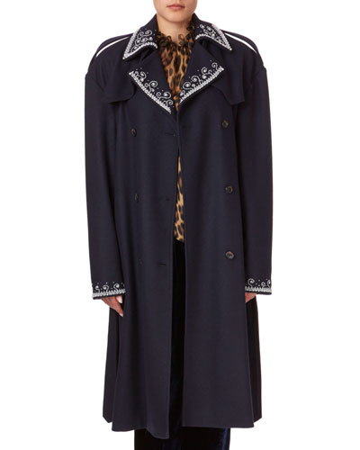 Amur Beaded Large-Shoulder Trench Coat