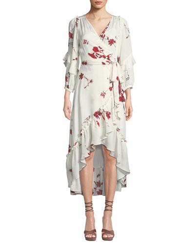 Anawrette Floral Ruffle High-Low Wrap Dress