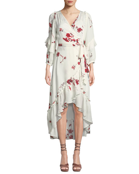 Joie Anawrette Floral Ruffle High-Low Wrap Dress