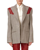 Magda Butrym Arkansas Beaded Plaid Wool Blazer w/