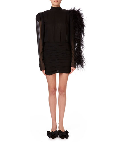 Dubai Feather-Shoulder Open-Back Mini Dress