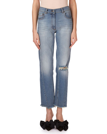 Magda Butrym Nelsonville Frayed Boyfriend Ankle Jeans