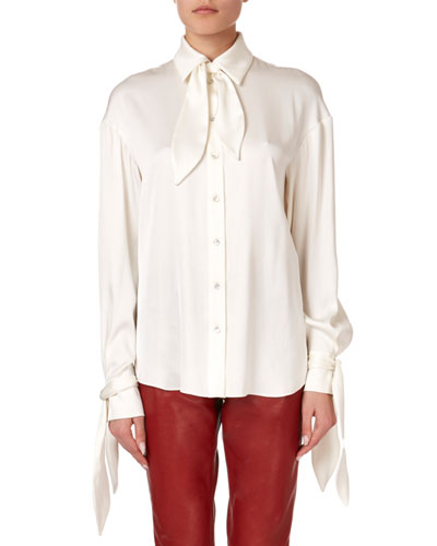 Queens Tie-Neck Button-Front Blouse