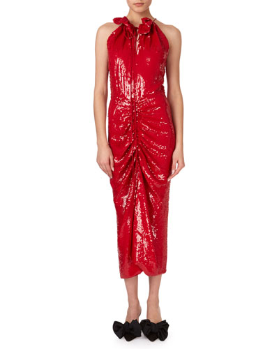 Hilo Ruched Sequin Halter Midi Dress